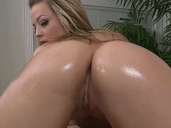 Naked blonde whore Alexis Texas with jaw dropping round ass and cheep heavy make up gives mind blowing massage with her tits to stylish Jordan Ash in close up.