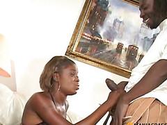 Black gal sucking big dick