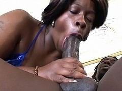 Watch sexy bbw ebony Dimples as she takes on a horny black muffin with a monstrous cock and a huge appetite for bbw pussy smacking. Dimple looks so sexy with her sweet face and huge knockers as she goes down on her knees to work a cock with her mouth.