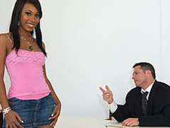 An executive stakes out a fried chicken chain to find a black angel to be in his rap video. He bumps into beautiful black chick Rane Revere, and he asks her to come audition for him. He has her strip down to show off her juicy body, and shes in a short time on her knees sucking his hard cock. She unfathomable throats and gags on his dick, and he bends her over to fuck her doggy style. He lays her back to give it to her missionary, and this babe climbs on top to ride him reverse cowgirl. He finally blows his load all over her for a messy facial.