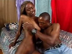 If you opposite number your girls black then this one will make your penis explode!  Sultry ebony slut Chanelle La Croix begins the clip stripping off, showing off her extremely slender body.  She has her hair dyed blond and tied back in corn braids, but she still looks extremely feminine, with perfectly sized breasts and a shaved slit.  Her man Jason Zupalo cant wait to get into her holes, roughly throat fucking her eager mouth in advance of he slams her cunt. This sweetheart loves to fuck and get fucked with equal facility, bouncing and grinding on her mans penis to start with and then submitting to his steady deep penis pounding. Jason fills her mouth with spunk.