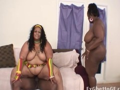 Very large threesome with BBW and a BBC